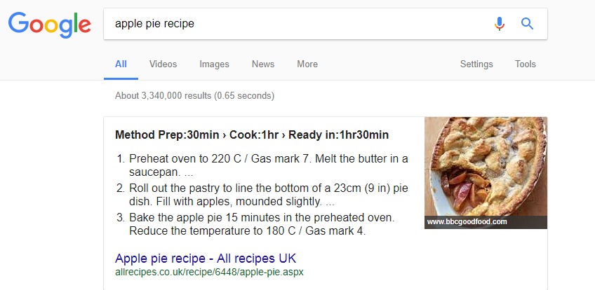 Apple Recipe rich snippet example
