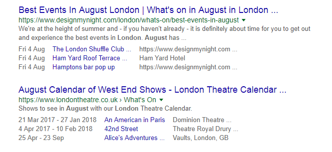 Best events in August, snippet example