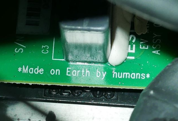 made on Earth by humans on the Spacex Roadster