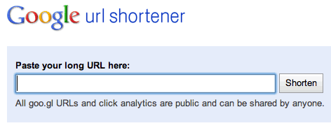 google url shortener interface