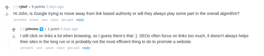 John Mueller comment on link building