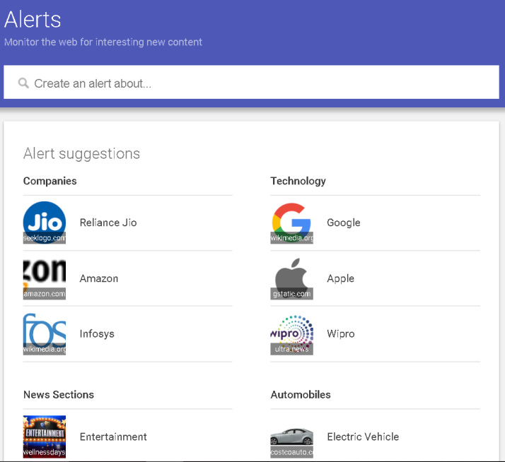 google alerts interface