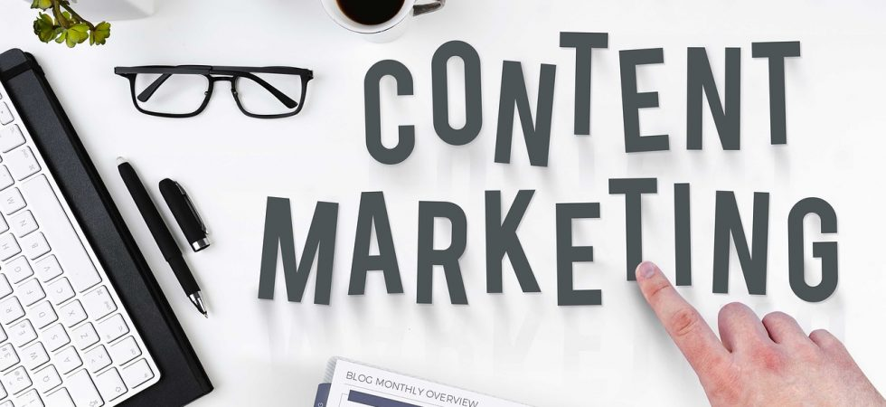Content marketing letters on the table with coffee and glasses